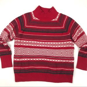 New Chaps Red Holiday Multi Stripe Sweater 2X